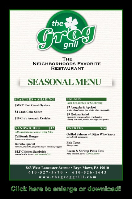 The Grog Grill Seasonal Menu Summer 2015